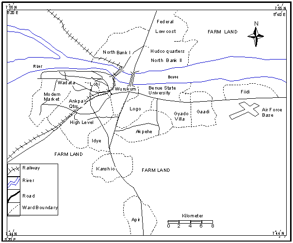 Figure 1. Map of Makurdi Town Showing The Study Areas ... on map of borno state, map of abia state, map of bay state, map of nasarawa state, map of adamawa state, map of bayelsa state, map of colima state, map of kaduna state, map of rivers state, map of osun state, map of bihar state, map of zamfara state, map of rio de janeiro state, map of anambra state, map of kogi state, map of ekiti state, map of enugu state, map of plateau state, map of gombe state, map of ogun state,