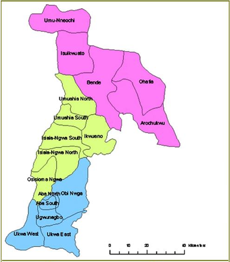 Map Showing The LGAs of Abia State (Source: http://
