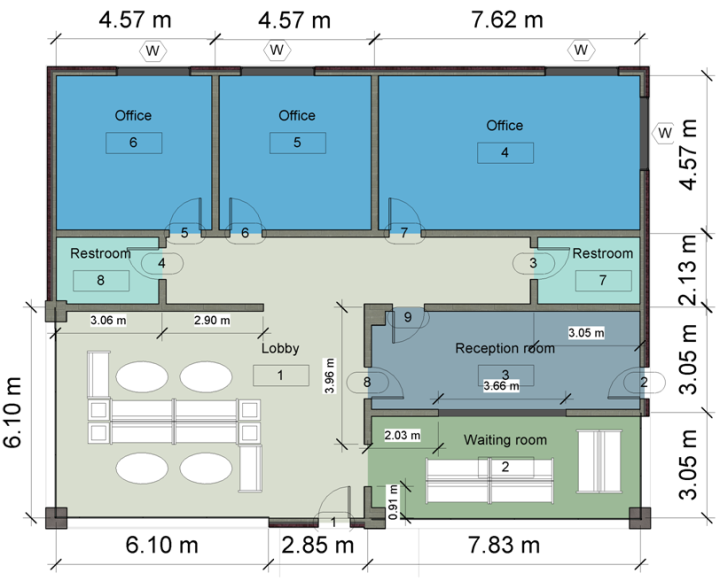 Figure 2 floor plan of the small commercial building for Small commercial building plans