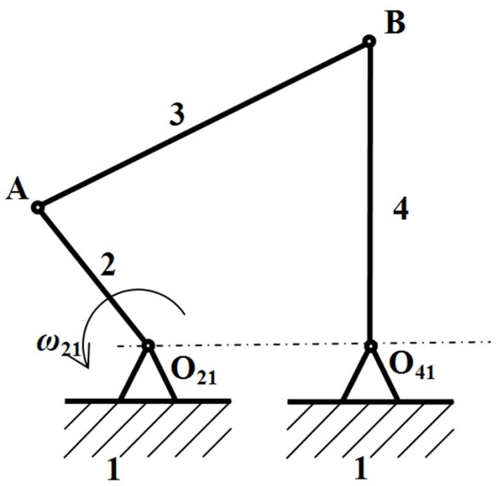 Figure 1  Crank Rocker Mechanism : The MSC Adams/View and