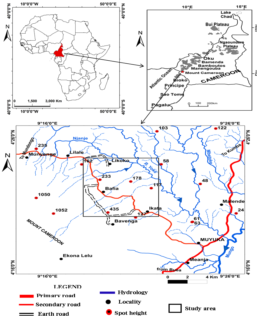 Figure 1. location map of the study area (A) Cameroon in Africa, (B ...