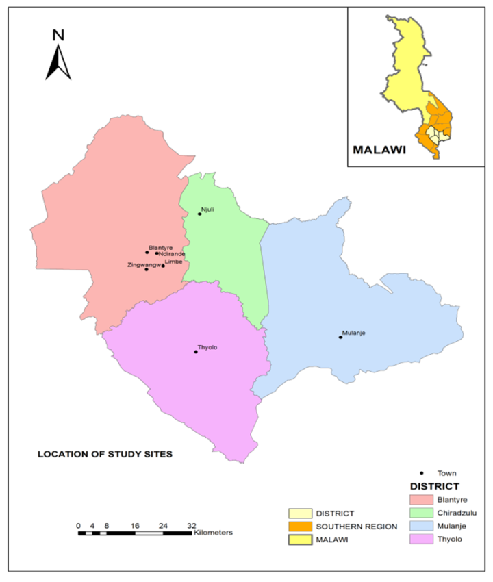 Figure Map Of Malawi Showing Study Sites Prevalence Of - Malawi map png