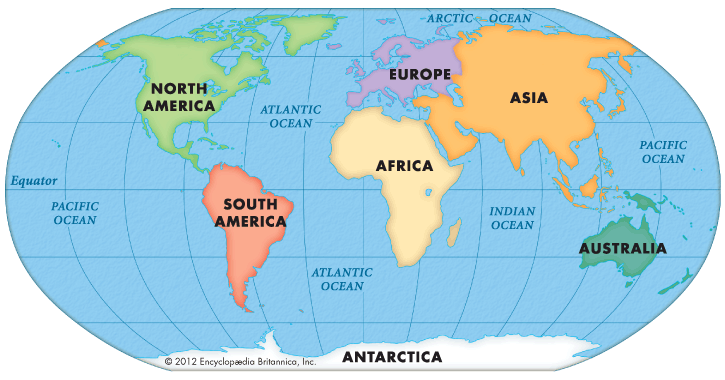 map showing different continents in world