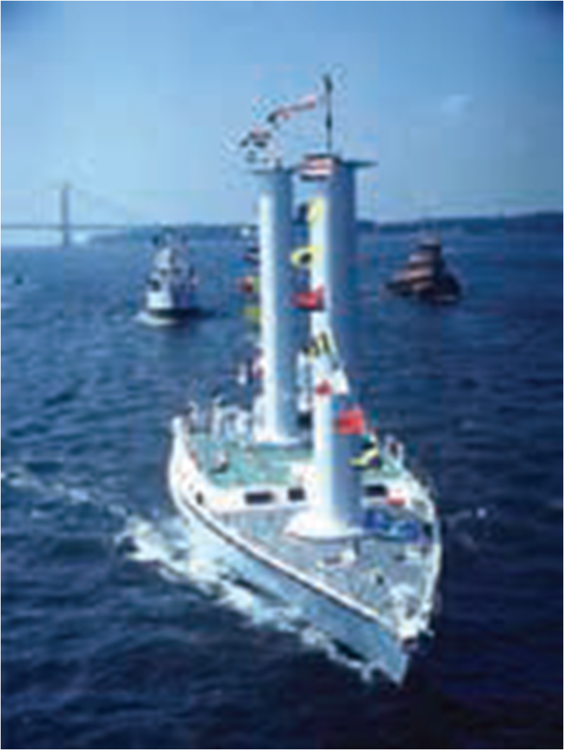Figure 3. Flettner rotors are vertical, cylindrical sails