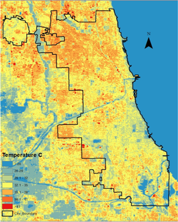 Ecological Evaluation of Urban Heat Island in Chicago City, USA on