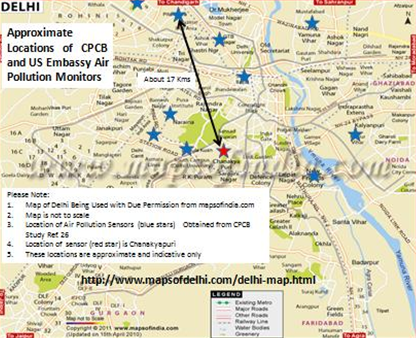 Figure 2 map of delhi showing approximate relative locations of map of delhi showing approximate relative locations of reference chanakyapuri air quality monitoring station in us embassy school and 10 other air sciox Image collections