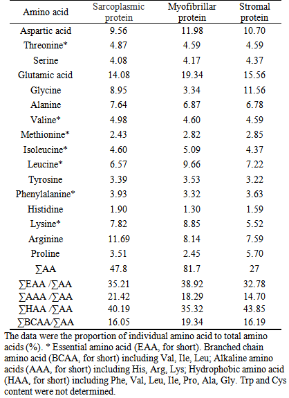 analysis of protein composition and antioxidant activity of, Muscles
