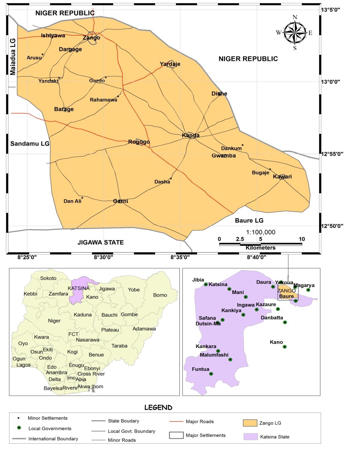 Map Of Zango Local Government Area Katsina State Nigeria