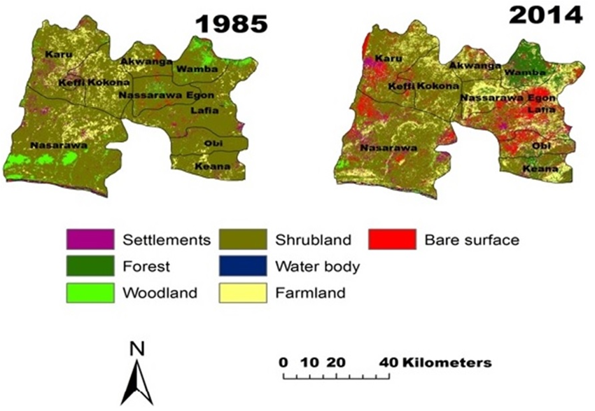 Figure 4. Land Use Land Cover Map of 1985 and 2014 : Co ... on map of west indies, map of idaho, map of bauchi, map of benin city, map of port harcourt, map of abuja, map of zaria, map of nigeria, map of kano,
