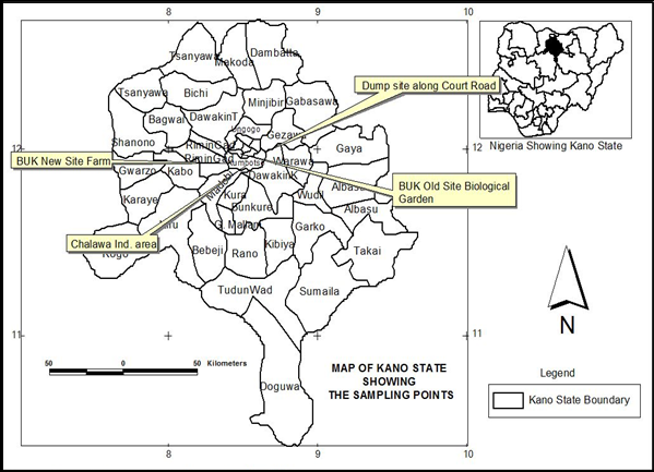 Figure 4 Map of Kano State Showing the Sampling Points Assessment