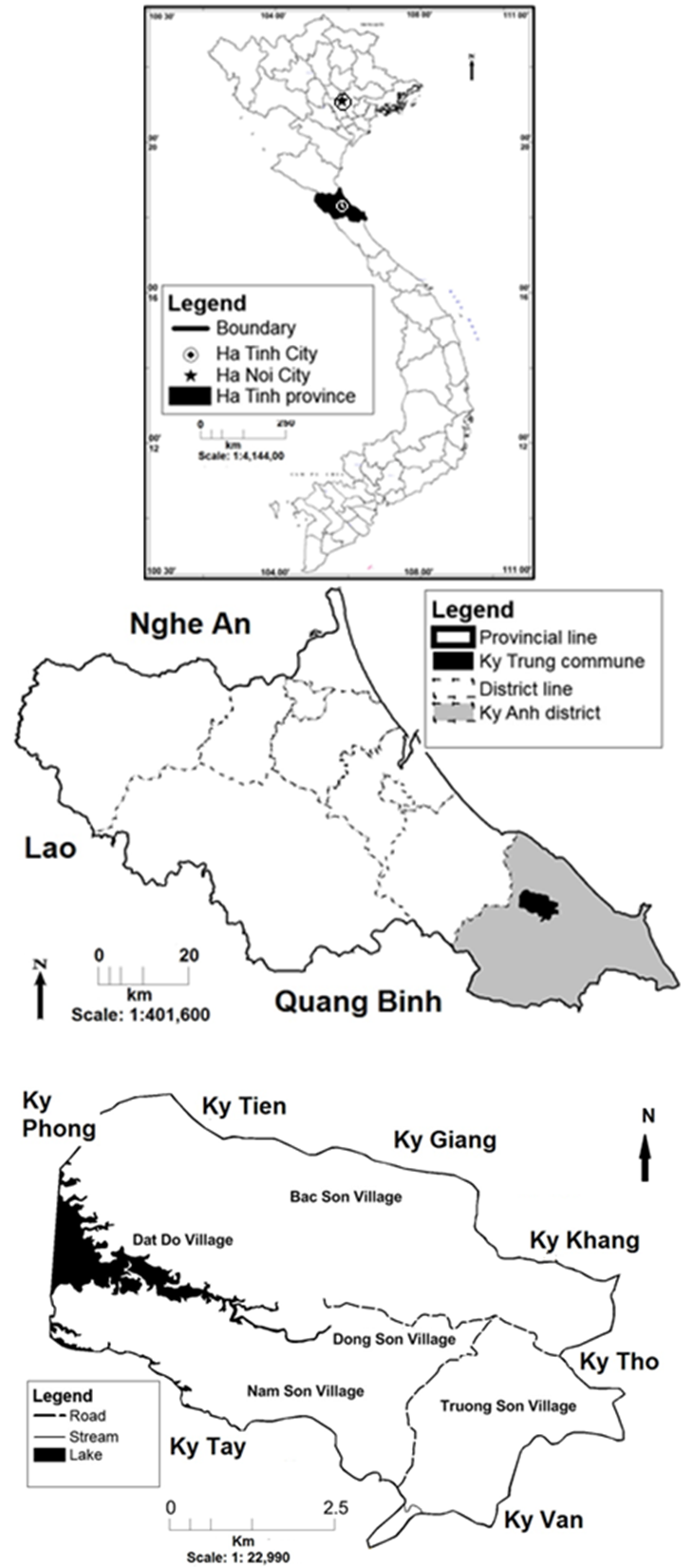 Figure 1  (a) Map of Vietnam with Ha Tinh province (black